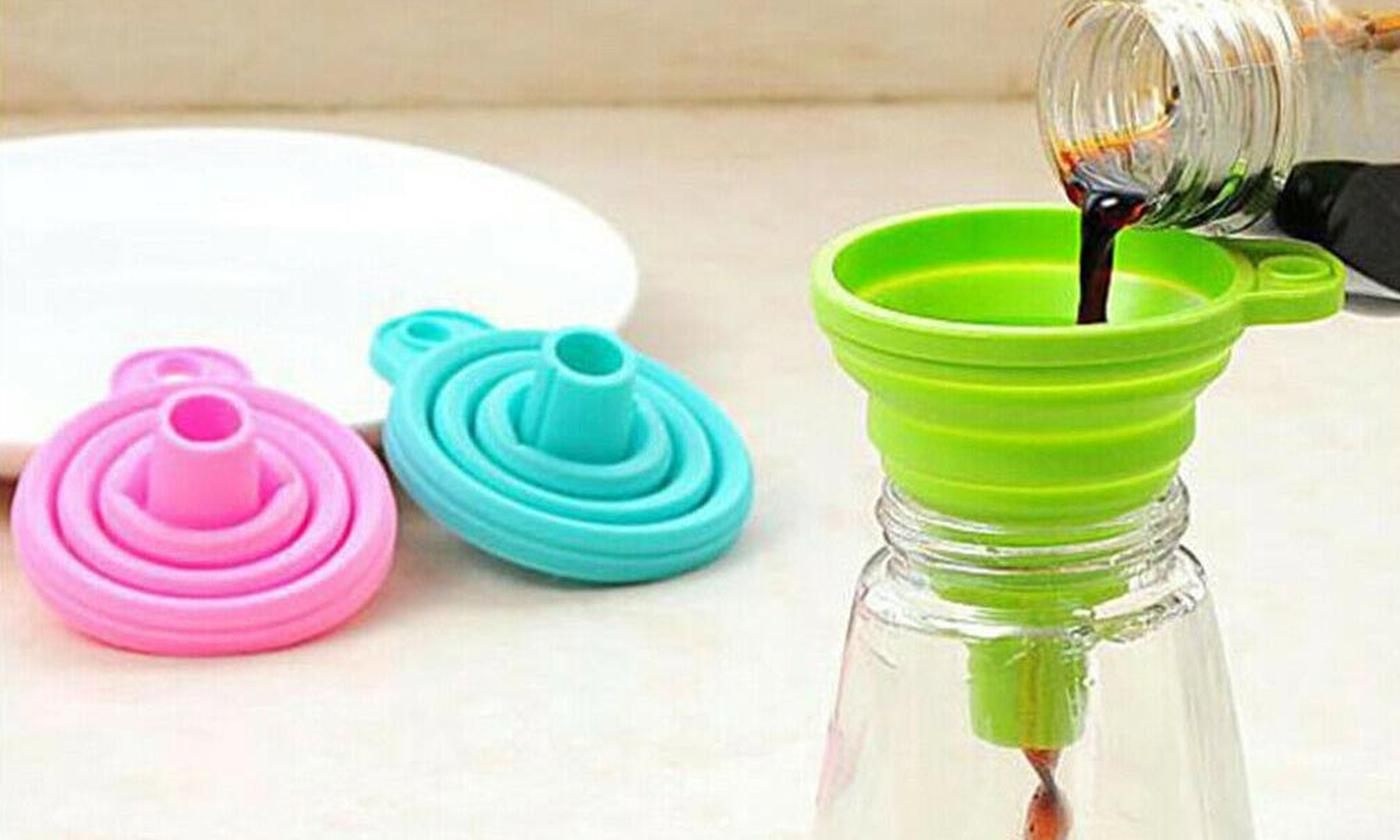 One, Two, Four or Eight Collapsible Foldable Silicone Funnels