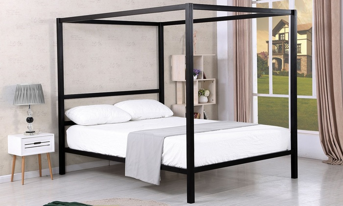 lit baldaquin en noir groupon. Black Bedroom Furniture Sets. Home Design Ideas