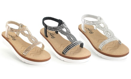 Womens Diamante Slip-On Sandals