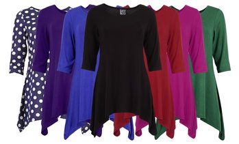 Women's Shark Tail Cut Tunic Dress Top (2-Pack). Plus Sizes Available.