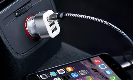 Chargeur 3 ports pour voiture+ Câble 2 EN 1 de chargement tressé en aluminium