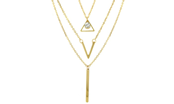 Triangle, V, and Bar Layered Necklace with Swarovski Elements Crystals in 18K Gold Plating