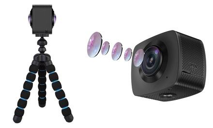 Caméra de sport étanche 360º et trépied, avec carte mémoire SD en option
