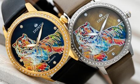 Reloj automático Empress de nácar grabado con correa de piel Diana