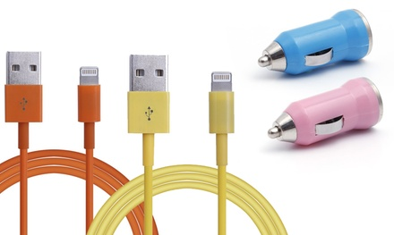 iProtect USB-Ladekabel und Kfz-Adapter für Apple Geräte in der Farbe nach Wahl