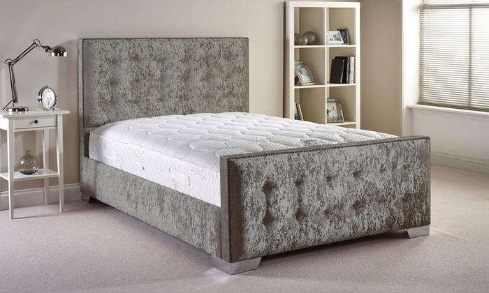 Handcrafted fabric bed frame groupon goods for Bed frame deals