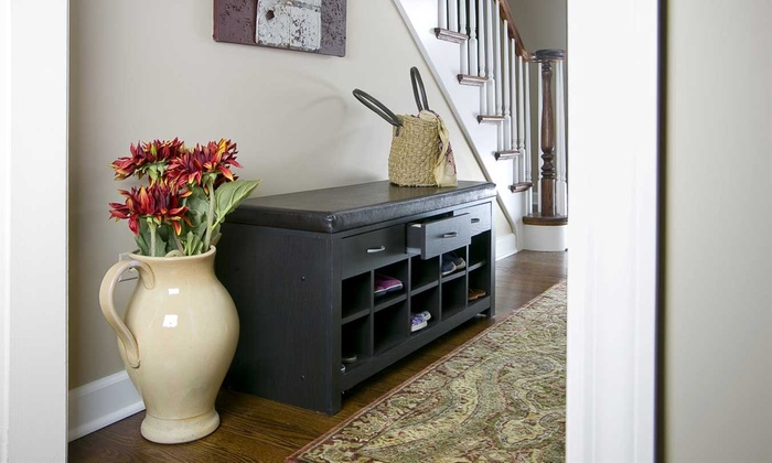 Entryway Bench With Shoe Storage Compartments Groupon