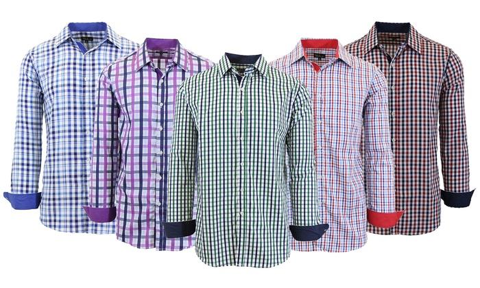 da9cc2ebd Galaxy by Harvic Men's Long-Sleeve Slim-Fit Plaid Dress Shirt