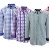 Galaxy by Harvic Men's Long-Sleeve Slim-Fit Plaid Dress Shirt