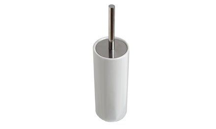 Ceramic Toilet Brush Holder with Chrome Handle