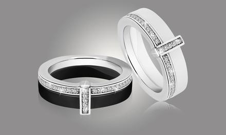 Keramik-Ring, verziert mit Kristallen von Swarovski®, in Schwarz oder Weiß, zwei Ausführungen und in der Größe nach Wahl
