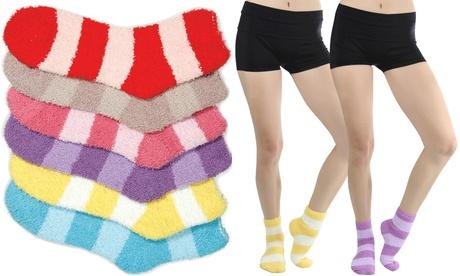 Wide Stripe Soft Plush Winter Socks (6 Pairs) e378f6ea-a4b1-11e7-890e-00259069d7cc