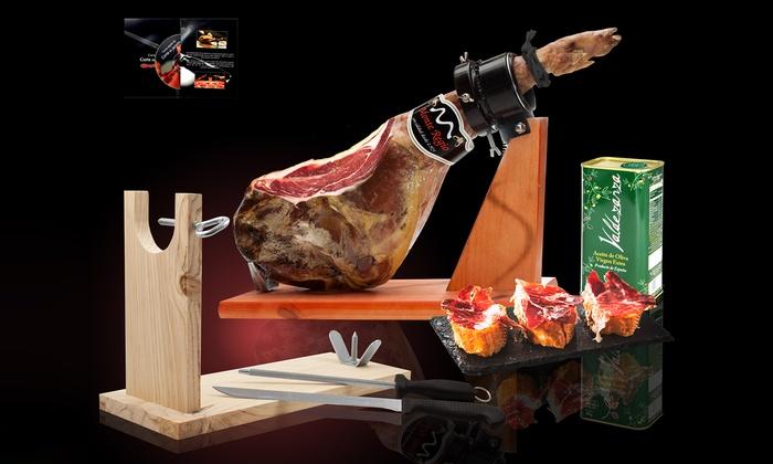 Groupon Goods Global GmbH: Jambon Serrano ou Ibérique Premium avec ou sans support, couteaux, DVD et huile d'olive extra vierge