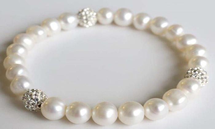 3739366233ff68 Genuine Pearl Bracelet Made with Swarovski Crystals by Valencia Gems