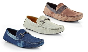 Closeout: Men's Slip-On Casual Denim Horse Shoe Penny Loafers