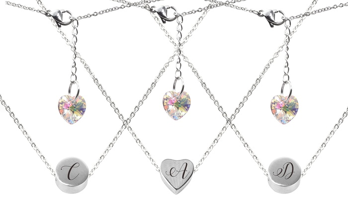 a1cacd836 Round or Heart Initial Necklace with Swarovski Crystals by Pink Box