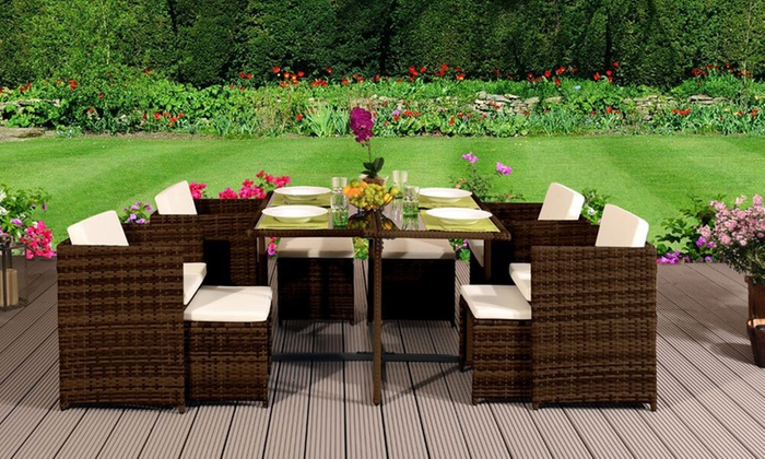 9-, 11- or 13-Piece Low Back Cubed Rattan Set with Optional Protective Cover from £319.99