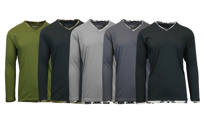 Men's Galaxy By Harvic Double Layer V-Neck Tee