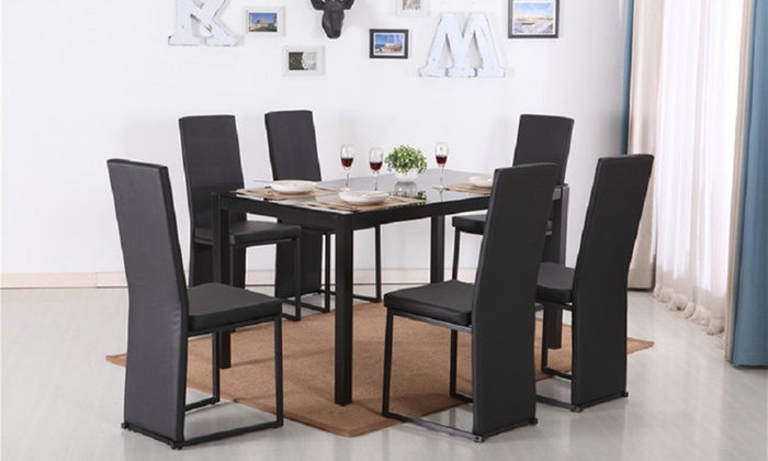 Glass Dining Table with Four- or Six-Piece Faux Leather Chair Set