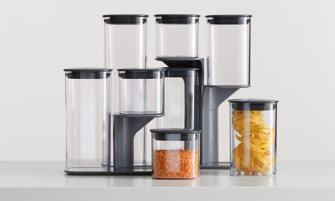 One or Two Five-Piece Joseph Joseph Podium Kitchen Storage Container Sets