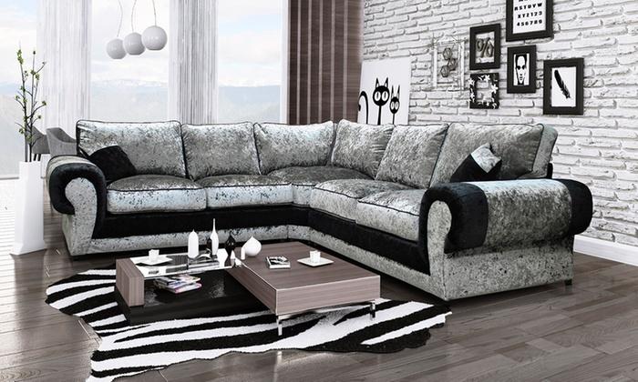 Madrid large velvet corner sofa groupon goods for Sofas buenos madrid