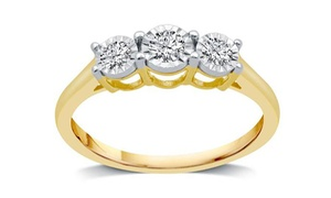 1/4 CTTW Diamond Engagement Ring in 10K Yellow Gold By DeCarat