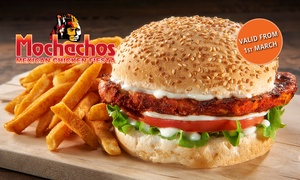 Mochachos: Chicken, Beef or Veggie Burger + Chips for One, Two or Four (From $8) at Mochachos, Four Locations (Up to $60 Value)