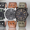 Stührling Original Men's Aviator Leather Strap Watch