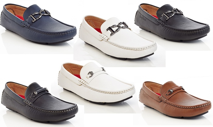 Henry Ferrera Men's Slip-On Loafers with Buckle Accent