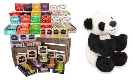 Veganproefpakket met 12 repen Superfood Mix Fruits & Nuts en pluchen pandaknuffel