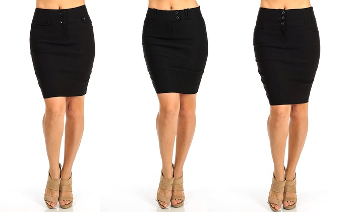 Women's Stretchy Black Pencil Skirt