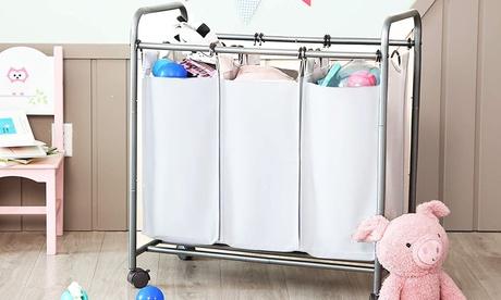 Carrito de lavandería con 4 ruedas giratorias y 3 compartimentos de tela gris