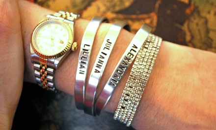 Custom Stamped Aluminum Rings and Cuffs from LilyDeal.com. Multiple Styles from $12.99–$18.99.