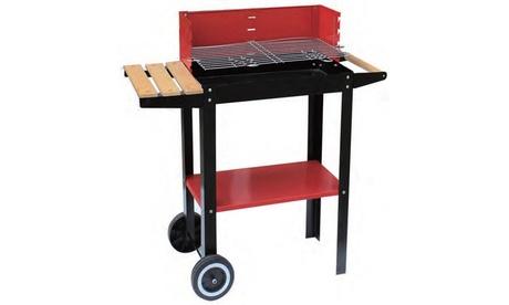 Barbecue in metallo con ruote, parabrezza, piano d'appoggio in legno e piano...