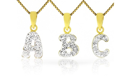 Kids' Initial Pendants with Swarovski Elements in 14K Gold