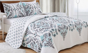 Lauretta Collection Reversible Printed Quilt Set (2- or 3-Piece)