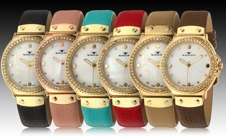 Tavan Women's Maiden Watch with Swarovski Crystal Embellished Bezel. Multiple Colors Available. Free Returns.