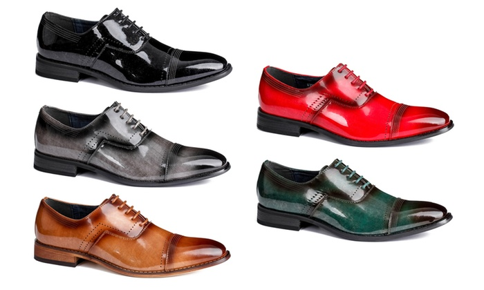 37bf89eaaa4 Signature Men's Milano Cap-Toe Oxford Dress Shoes | Groupon