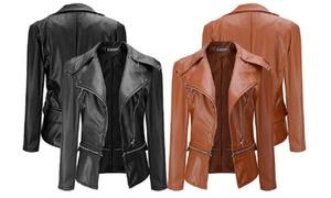 (Mode)  Blouson femme en simili cuir -63% réduction