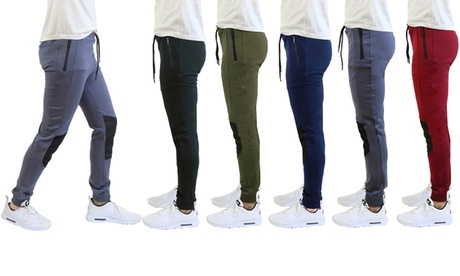 Men's Moisture-Wicking Moto-Track Jogger Pants with Zipper Pockets