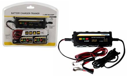 Caricabatterie mantenitore batteria da auto Dunlop con display a LED 2 pinze a morsetto e cavo di alimentazione