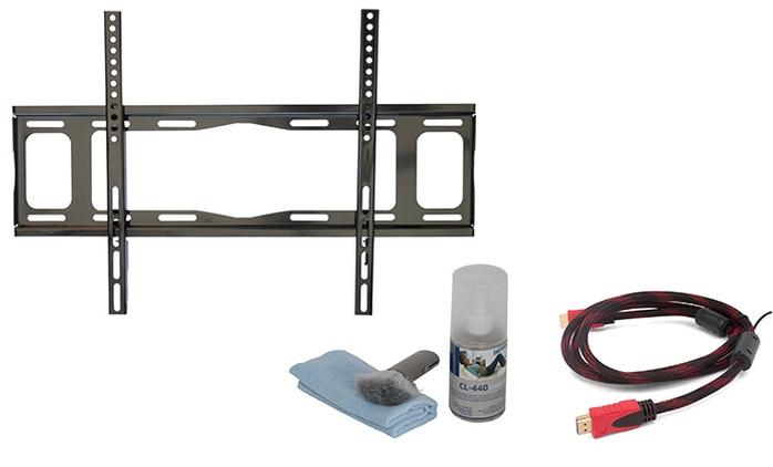 ערכת טלוויזיה הכוללת מתקן תלייה צמוד קיר, כבל HDMI וערכת ניקוי