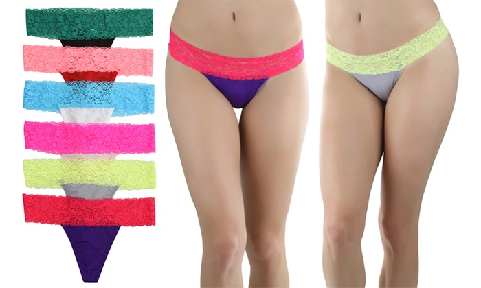 Women's Contrast Lace Waistband Thongs (6-Pack)
