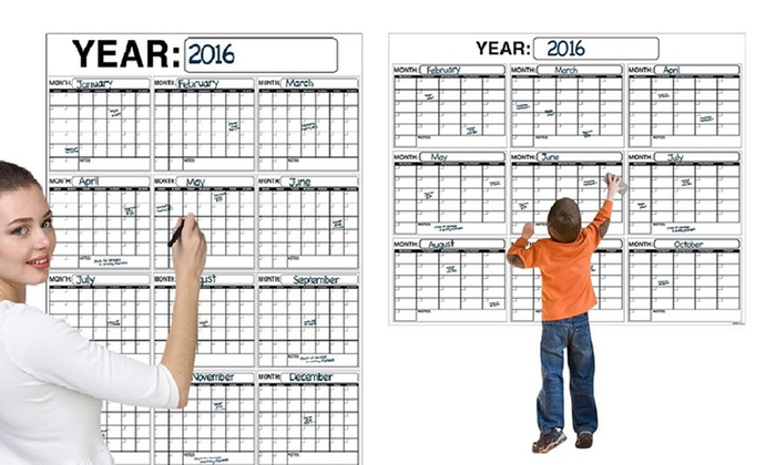 Dry Erase Calendar Canada : Jumbo dry erase wall calendars groupon goods