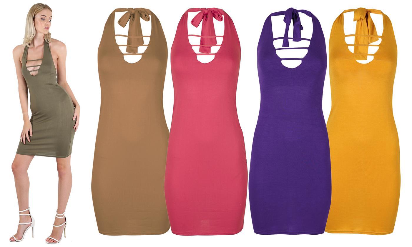 Oops Women's Plain Tieback Sleeveless Mini Bodycon Dress
