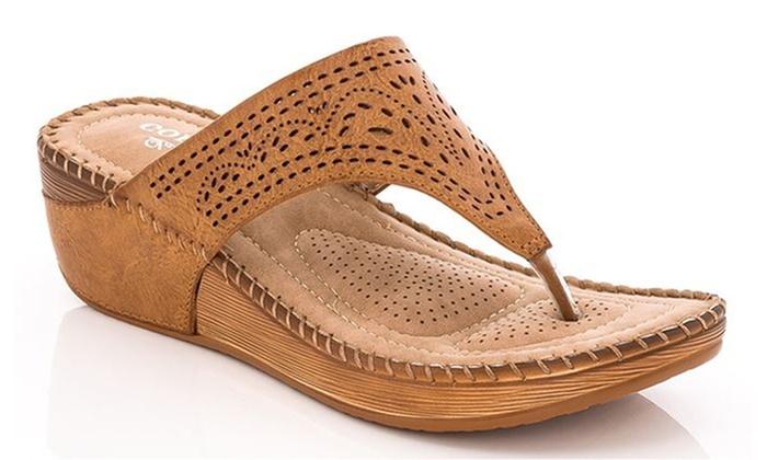 0c4f091a01f Lady Godiva Women s Comfort Wedge Thong Sandals (Size 10)