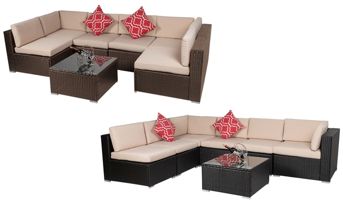 Seven-Piece Rattan-Effect Garden Furniture Set
