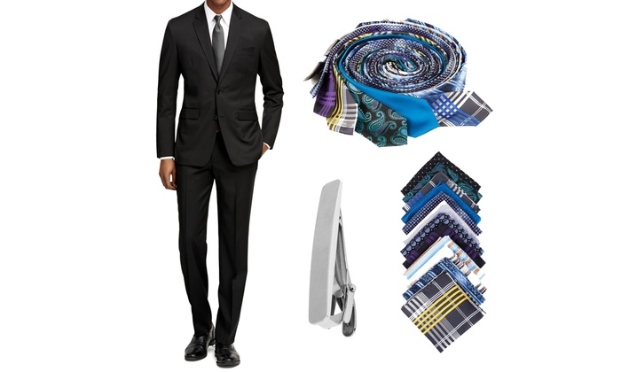 Men's 2-Piece Slim-Fit Suits by Braveman with Free Tie, Tie Clip, and Pocket Square  (50Lx44W)