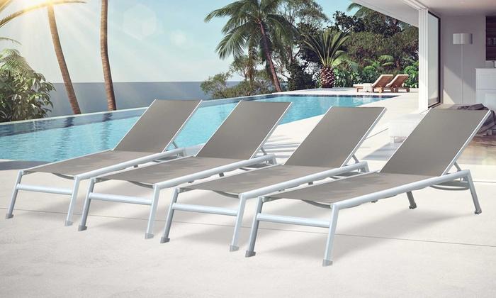 Lot de 2 ou 4 chaises longues Bora Bora en aluminium blanc et textilène  taupe