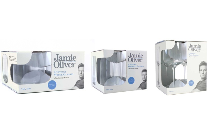 Jamie Oliver Vintage Water (from €19.99), High Ball (from €19.99) or Red Wine (from €22.99) Glasses (Up to 36% Off)